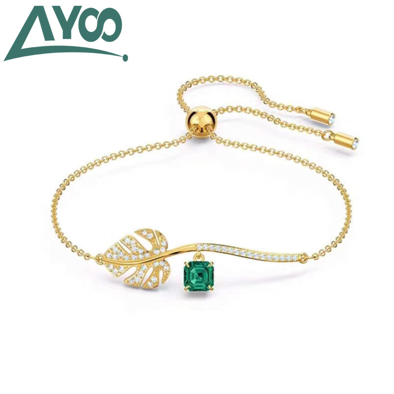 AYooSWA high quality new popular perforated ginkgo leaf decoration ladies bracelet