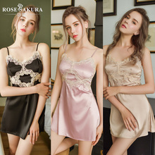 High end light luxury romantic silk nightdress sexy lingerie Micro elastic suspender strapless erotic sexy skirt for sex dress