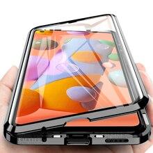 Samung a 11 case 360 ° 삼성 전자 갤럭시 a11 용 풀 커버 메탈 마그네틱 플립 케이스 2020 sm a115f/ds 6.4 양면 유리 코크
