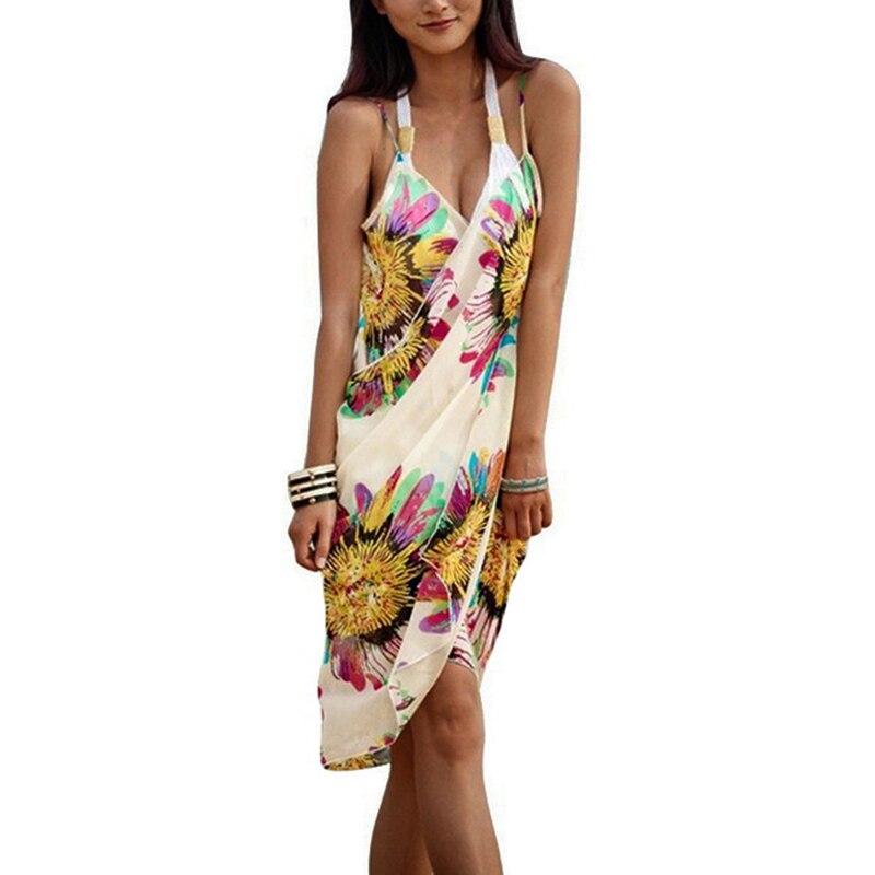 New 2019 Women Halter Sling Chiffon Beach Towel  Silk Sling Beach Print Bikini Blouse Flowers Open-Back Beach Dresses Cover
