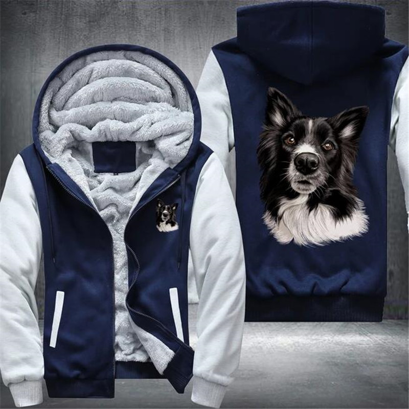 Border Collie Mens Winter Hoodies Male Harajuku New High Quality Casual Sweatshirts Zipper Warm Sportswear Thicken Warm Outwear