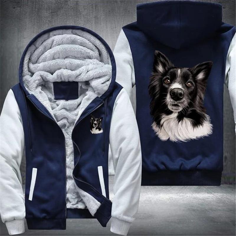 Border Collie Mens Winter Hoodies Male Harajuku New High Quality Casual Sweatshirts Zipper Warm Sportswear Thicken Warm Outwear