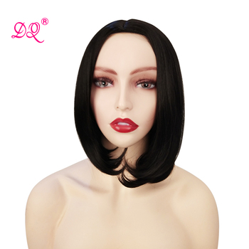DQ Short Bob Wig Straight Synthetic Wigs For Black Women Cosplay Wig With No Bangs 12 Inches Natura Black One Side Part Long