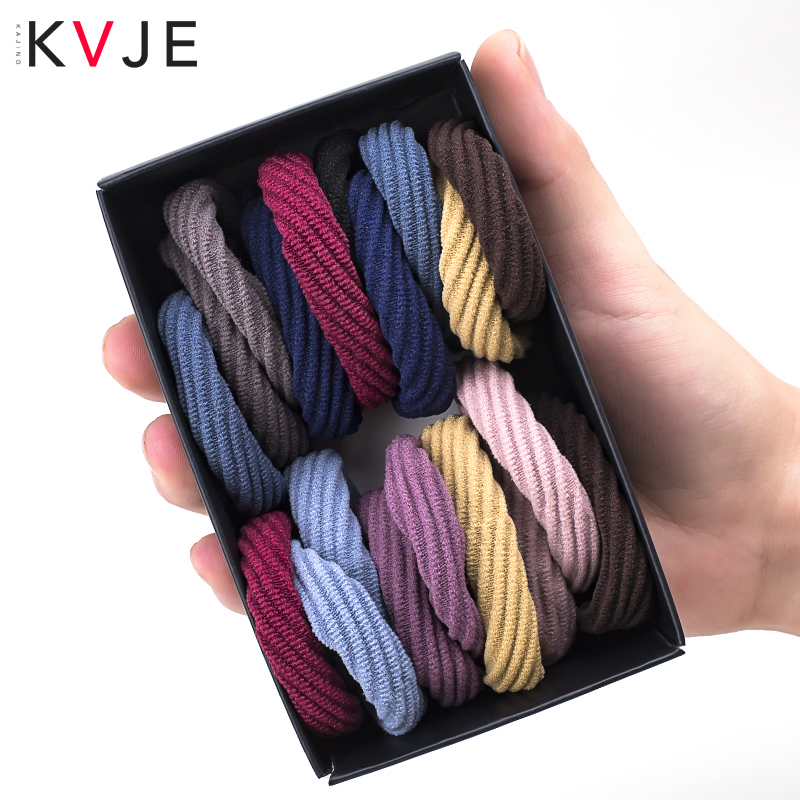 KVJE Elastic Hair Bands Package 20 Pcs  Cotton Seamless Connection Haar Accessoires Factory Promote Sales Srunchie