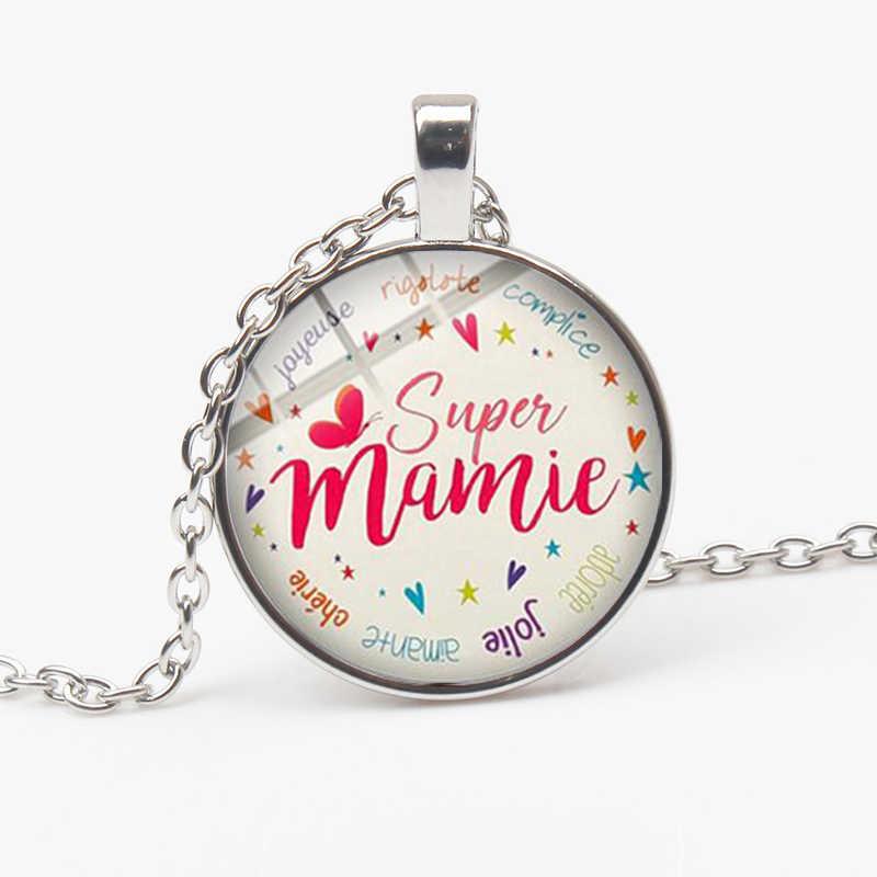 ร้อน! Super Mamie จี้สร้อยคอตัวอักษรตลกอ้างการ์ตูนพิมพ์แก้ว Cabochon สร้อยคอยายครอบครัวของขวัญของที่ระลึก