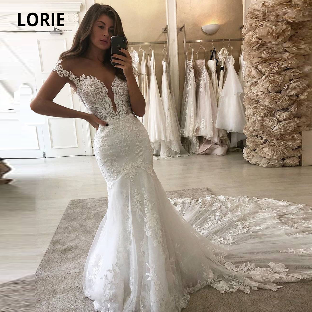 LORIE 2020 Deep V-neck Mermaid Wedding Dresses Lace Appliques With Tulle Bridal Gowns Cap Sleeve Backless Plus Size Marriage