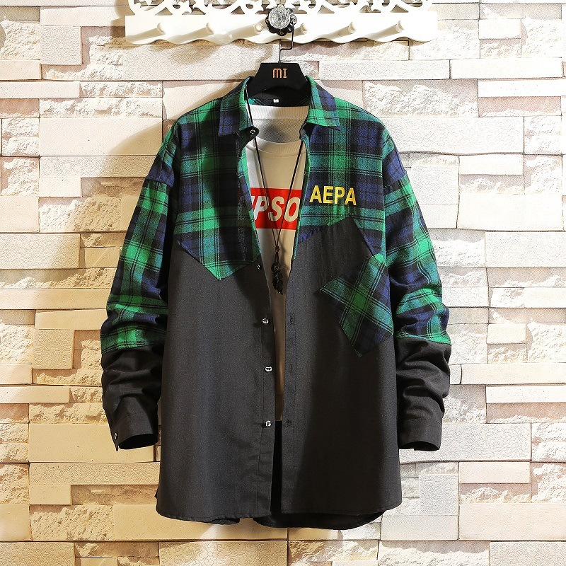 0193 Spliced Color Plaid Shirt Men Harajuku Hip Hop Shirts For Men Full Sleeves Streetwear Casual Vintage Plus Size 5XL Autumn in Casual Shirts from Men 39 s Clothing