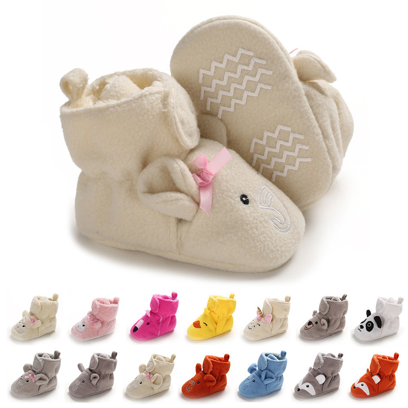 Winter New Booties Warm Unisex Baby Shoes Socks Boy Girl Animal Face Crawl Cotton Toddler Soft Infant Newborn Crib Moccansins