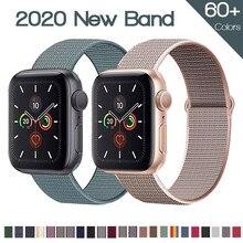 Banda para apple assistir série 6/5/4 40mm 44mm náilon macio respirável substituição cinta para iwatch série 6 5 4 3 2 1 38mm 42mm