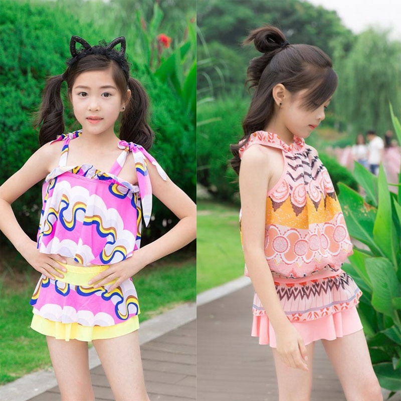 KID'S Swimwear Girls Big Boy Korean-style Floral-Print 6-13-Year-Old Split Type Boxers Chiffon Skirt Students Swimwear