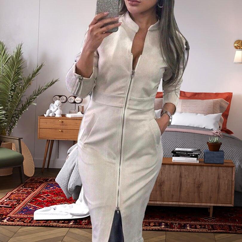 Taotrees Women Front Zippers Dress Fashion Ladies Suede Pencil Dress Long Sleeve High Waist Midi Bodycon Slit Dresses