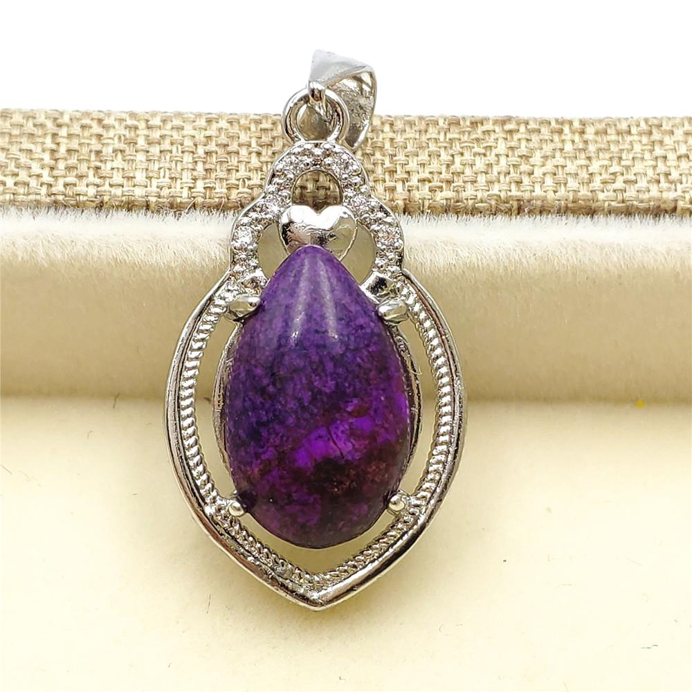 100% Natural Purple Sugilite Pendant Water Drop Stone Women Men South Africa Lucky Gift 25x15mm Fashion Necklace Pendant AAAAA