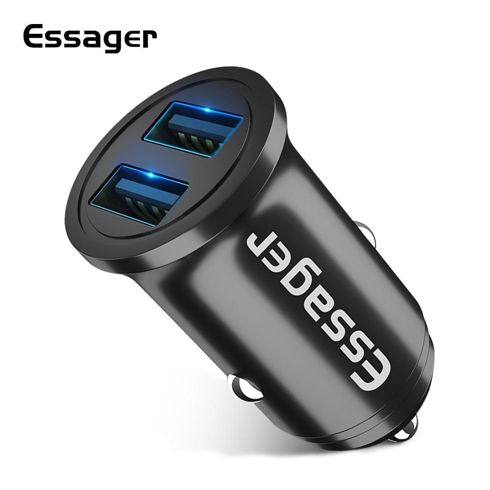 Essager 4.8A USB cargador de coche para iPhone Samsung Xiaomi mi 9 coche adaptador/cargador de teléfono móvil Dual USB rápido Carga de coche cargador
