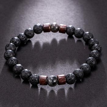 Fashion Women Men Lava Rock Stone Elasticity Yoga Beads Bracelet Lovers Party Bracelet Jewelry Gift 2