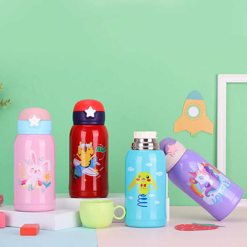 oficina viajes Suidone Botella de agua de 500 ml botellas de taza de termo de aleaci/ón de aluminio de patr/ón animal de dibujos animados para escuela