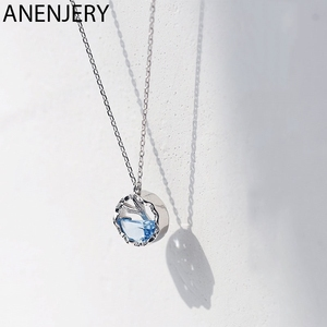 ANENJERY Fantastic Blue Zircon Mermaid Tail Charm Necklace For Women Silver Color Clavicle Chain Necklace S-N527