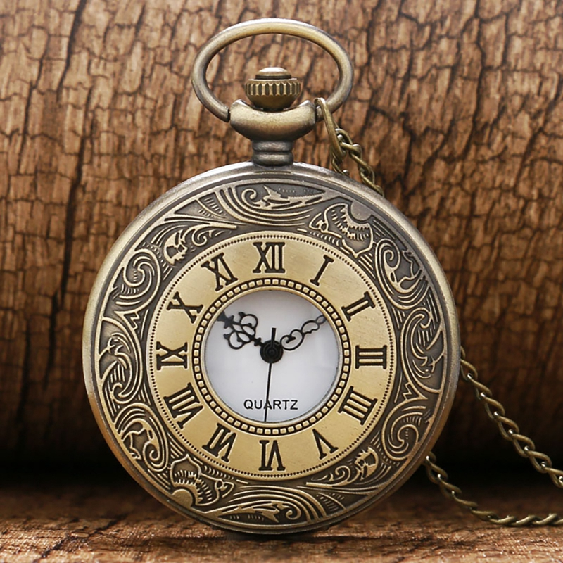 Vintage Bronze Roman Number Necklace Quartz Pocket Watch Chain Pendant Birthday Christmas Jewelry Gifts For Men Women Friends