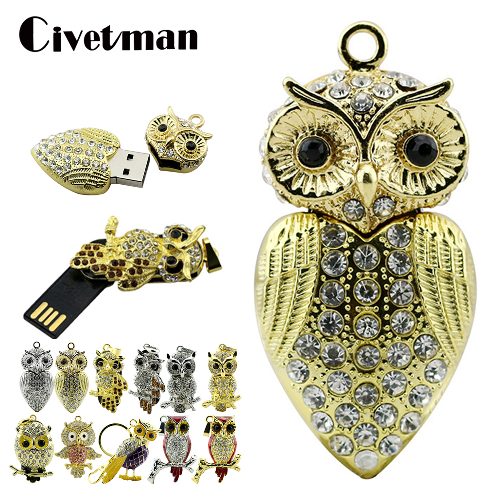 Crystal Pendant USB Flash Drive Metal Diamond Animal Owl Pendrive 256GB Pen Drive 8GB 16GB 32GB 64GB Memory Stick Cle USB Disk
