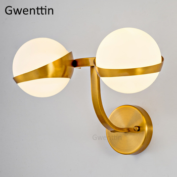 Nordic Gold Wand Lampen Glas Ball Wand Leuchte Led Spiegel ...