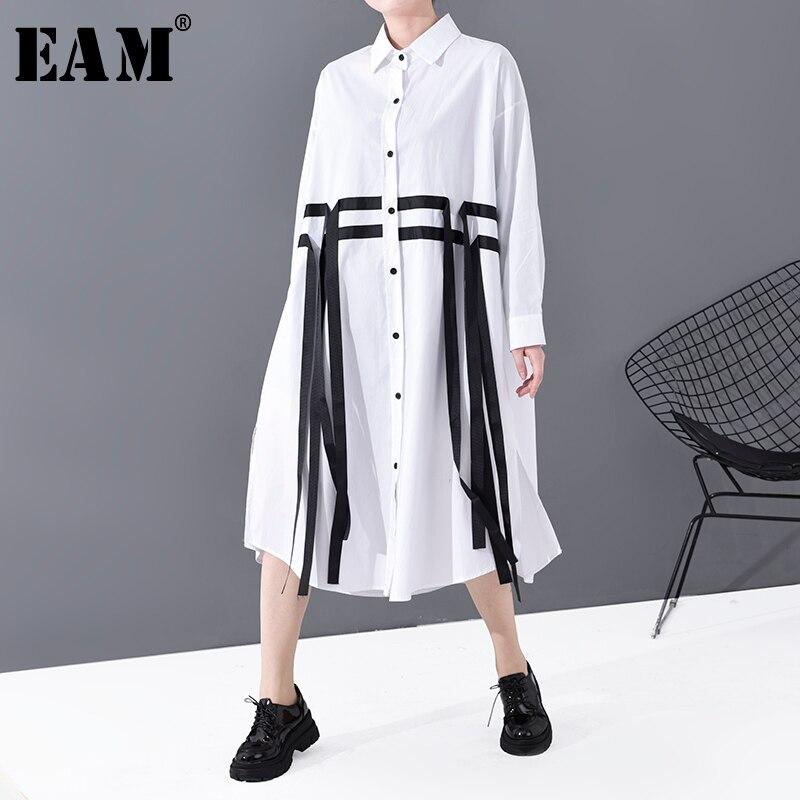 [EAM] Women White Ribbon Split Joint Big Size Shirt Dress New Lapel Long Sleeve Loose Fit Fashion Tide Spring Autumn 2020 1S812