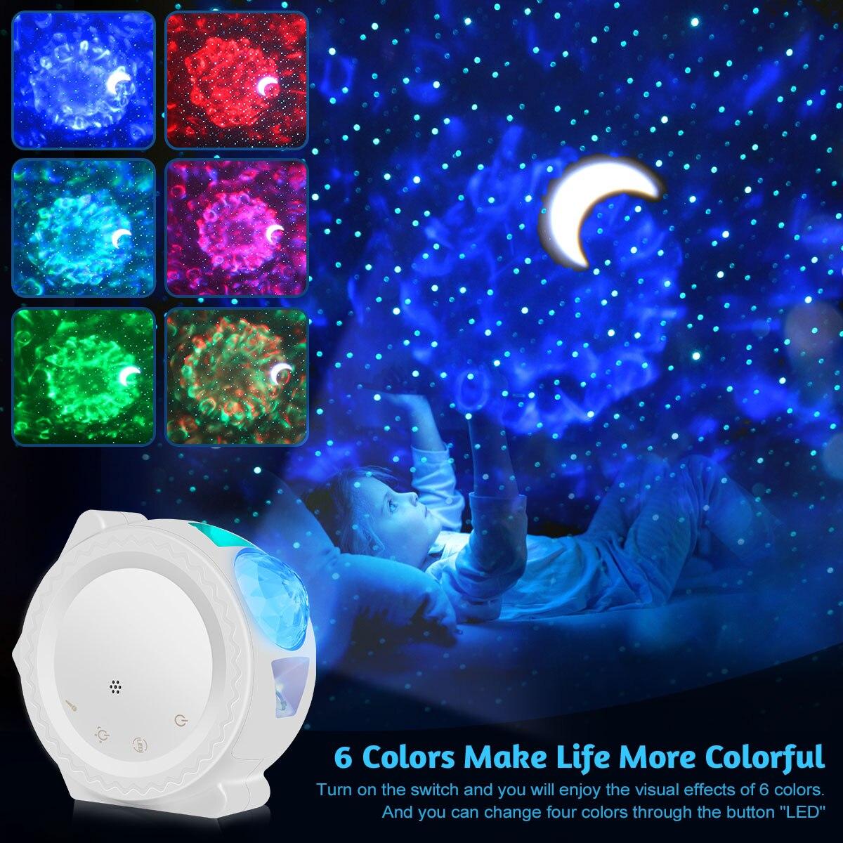 6 ألوان المحيط يلوحون ضوء النجوم السماء العارض LED سديم سحابة ليلة ضوء 360 درجة دوران مصباح ضوء الليل للأطفال دا