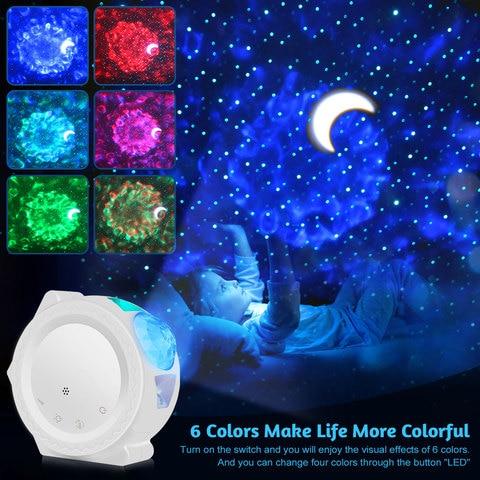 6 cores oceano acenando luz ceu estrelado projetor led nebulosa nuvem noite luz de rotacao