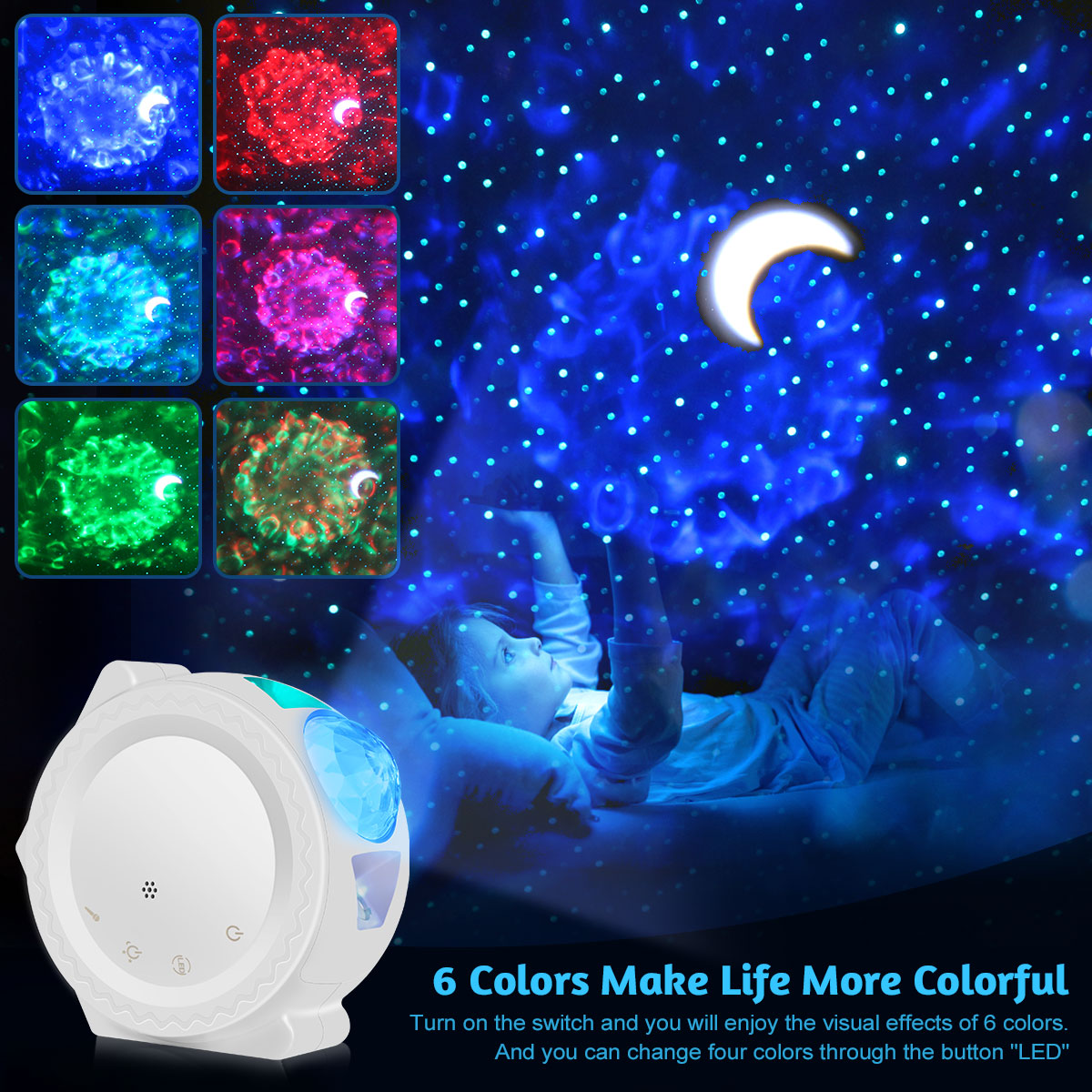 6 renk okyanus sallayarak ışık yıldızlı gökyüzü projektör LED bulutsusu bulut gece lambası 360 derece rotasyon gece lambası lambası çocuklar DA