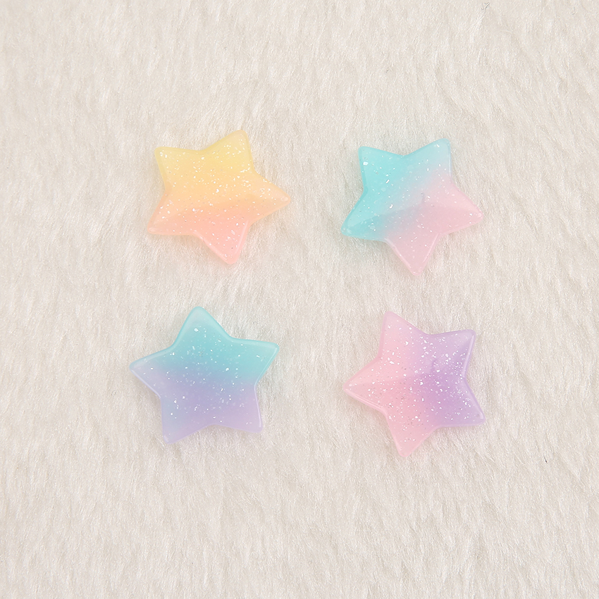 20pcs Cute FlatBack Resin Cabochons  Gradient Glitter Scrapbooking Heart And Star  Crafts For Jewelry DIY Decoration