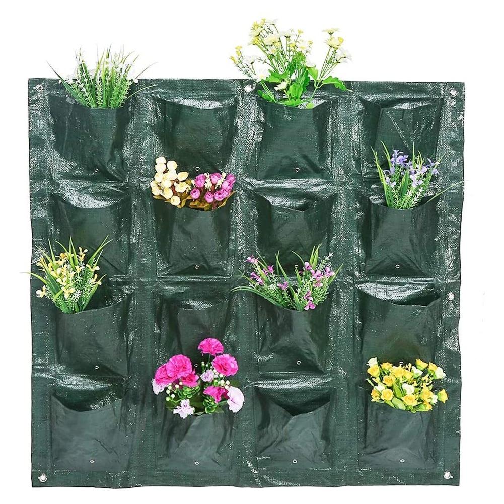 Подвесная сумка для посадки, настенный вертикальный контейнер для выращивания растений, с несколькими карманами, для сада, овощей, цветов