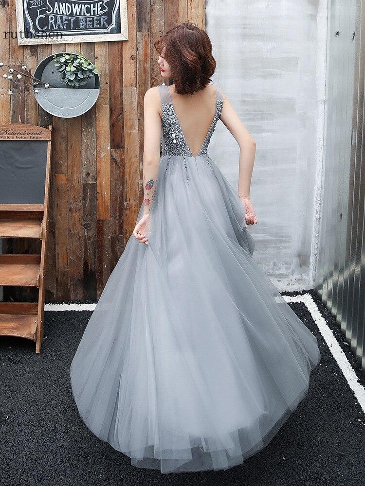 Image 4 - Gray Prom Dresses Long Vestidos De Gala Sequins Beaded Abiye Gece  Elbisesi Backless Women Formal Party Dress Evening Gown 2019Prom  Dresses