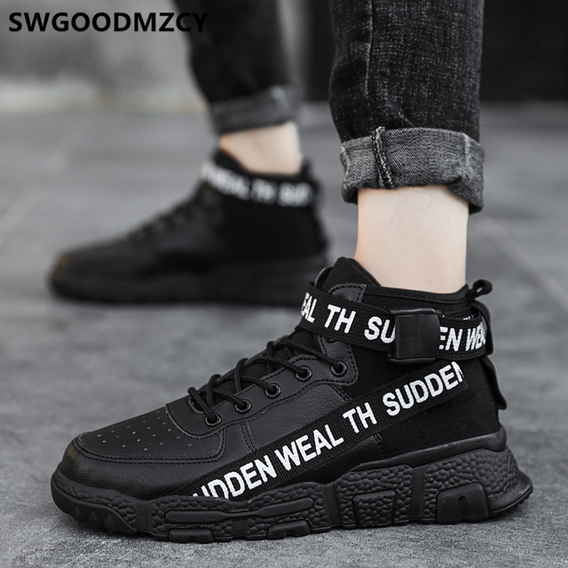 Leather Shoes Men Black Sneakers High
