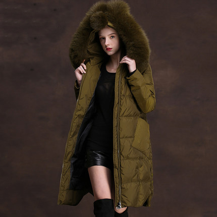 90% Duck Down Jacket Women Parkas New Brand Fox Fur Collar Winter Lomg Hooded Overcoat Female Plus Size 2XL LX1021