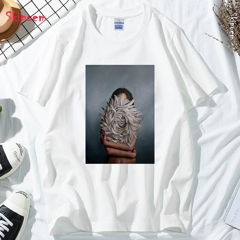 New Cotton Harajuku Aesthetics Tshirt Sexy Flowers Feather Print Short Sleeve Tops & Tees Fashion Casual Couple T Shirt 3