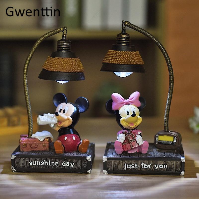 Cartoon Mickey Mouse Kids Night Light For Children's Room Baby Bedroom Bedside Night Lamp Modern Led Home Decor Lighting Fixture
