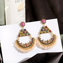 Vintage Gold Flower Indian Earrings Ohrringe Women's Classical Jhumka Earrings Pearl Tassel Statement Earrings