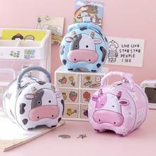 Cow Metal Coin Bank New Portable Tin Piggy Bank Children Cartoon Animal Money Box Financial Awareness Training Toy