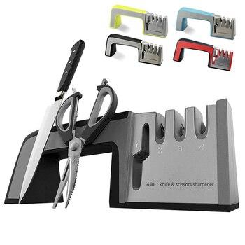 4 in 1 Knife Sharpener Designed With A Non Slip Base For Scissors Sharpening