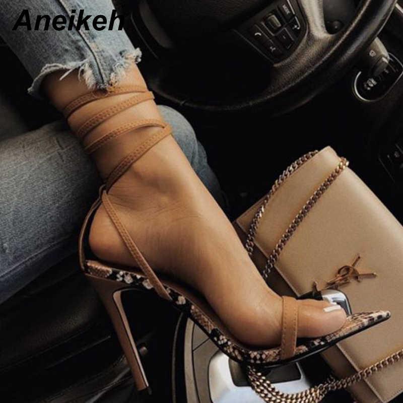 Aneikeh 2019 Serpantin Kadın Ayakkabı Peep Toe Yüksek Topuklu Sandalet Yaz Parti Elbise Ayakkabı Çapraz Kayış Ayak Bileği Toka Sandalet Pompaları