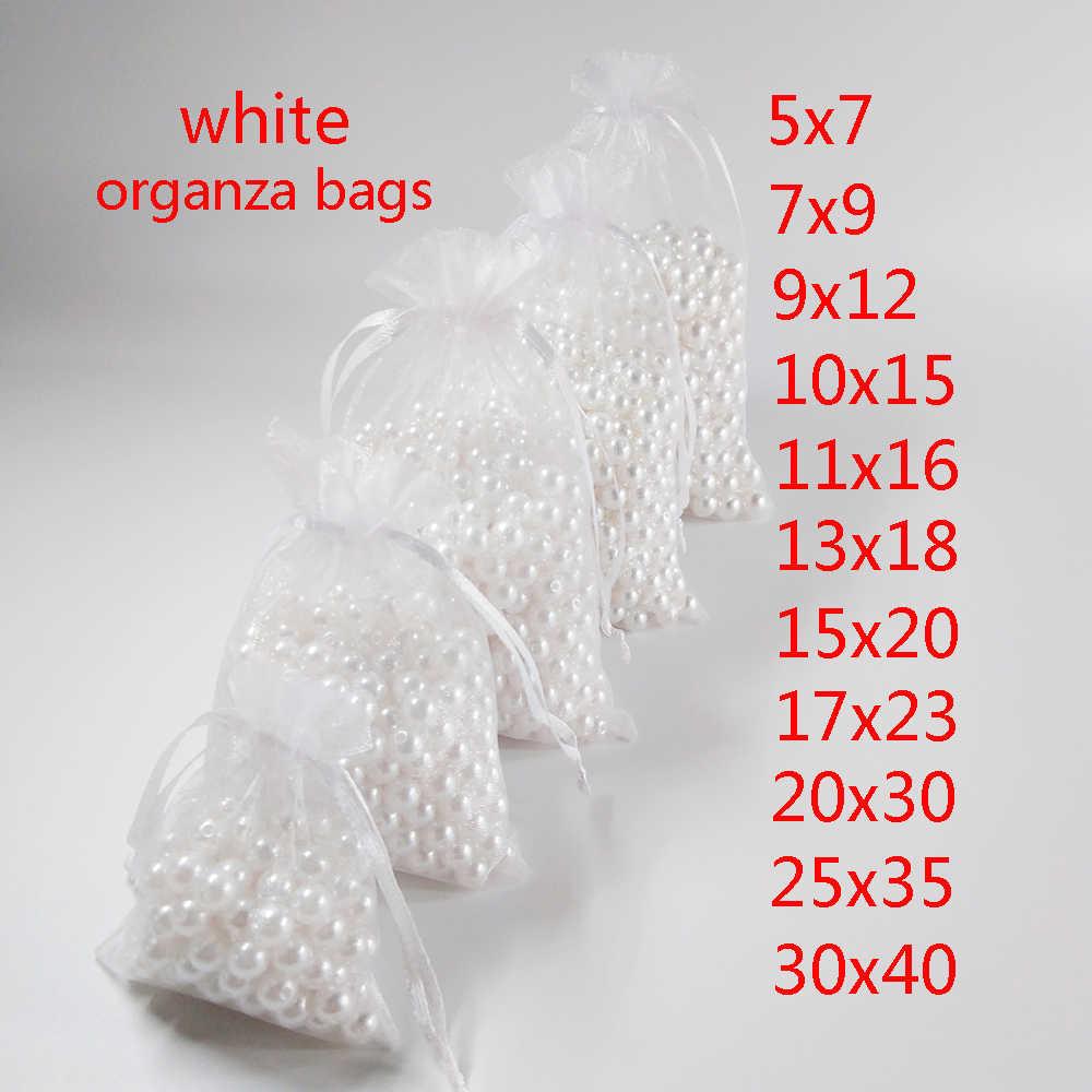 100 pz / lotto festa di compleanno compleanno natale bianco coulisse sacchetti di organza sacchetti regalo gioielli 5x7 7x9 9x12 10x15 11x16 13x18 15x20 17x23 20x30 25x35 30x40cm sacchetti per imballaggio gioielli