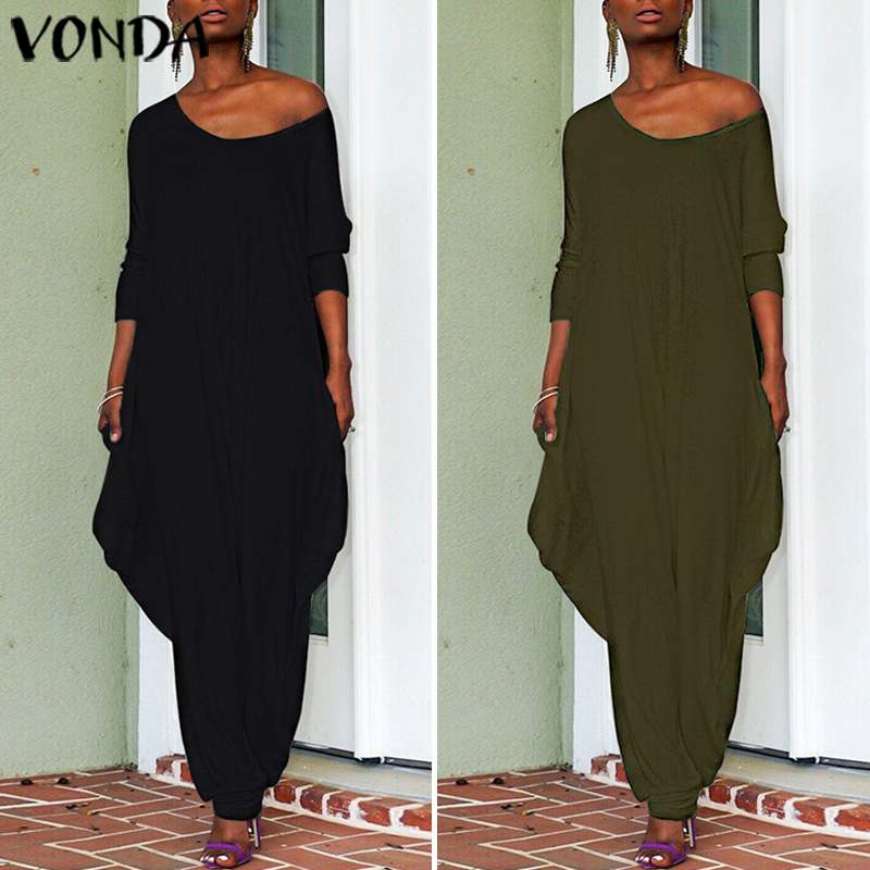 VONDA Rompers Women Jumpsuits 2019 Autumn Wide Leg Pants Sexy Long Sleeve Tassel Playsuits Casual Trousers Plus Size Overalls