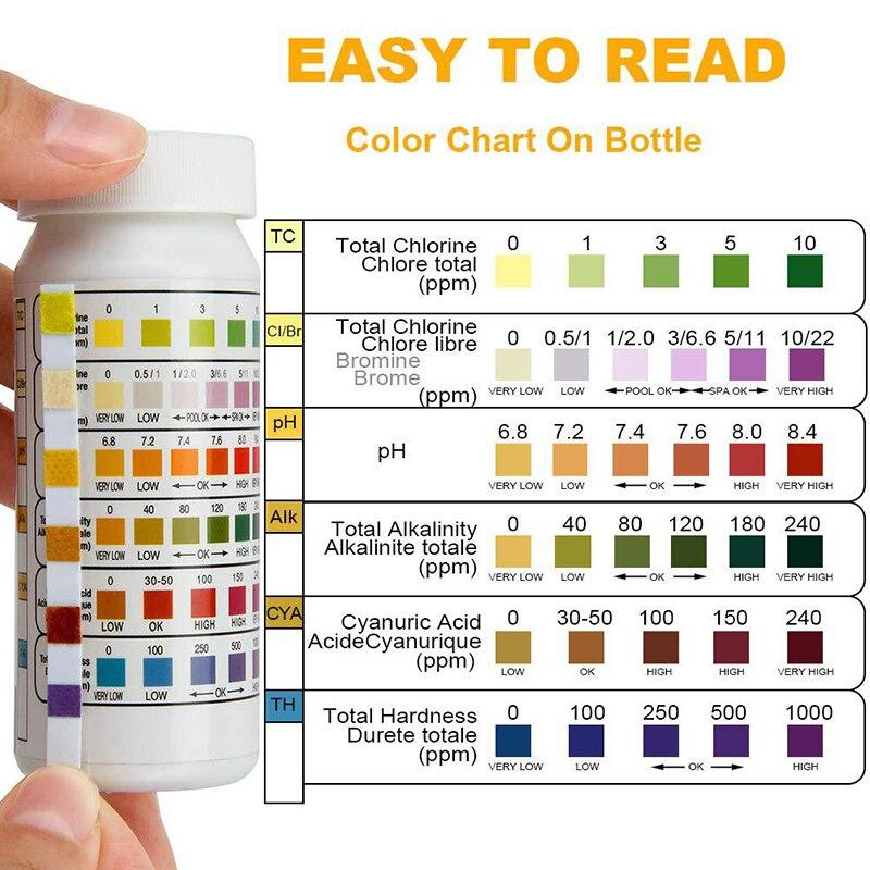 Тестовая Бумага для бассейна 6 -- 1, измеритель значения остаточного хлора, PH, щелочности, твердости, бутылка из 50 труб для горячей воды