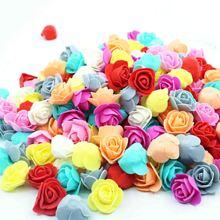 500 шт Пена роза 3 см Искусственный Цветок Голова PE Роза аксессуары в виде мишки украшения подарок на день Святого Валентина