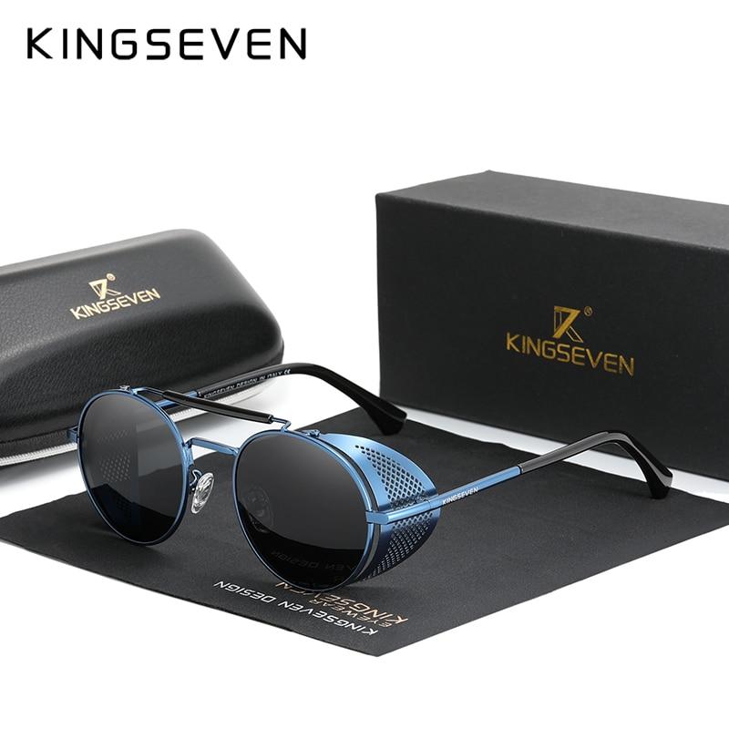 Genuine KINGSEVEN Retro Round Steampunk Sunglasses Men Retro Women Sun Glasses Shades Vintage Travel Eyewear Gafas De Sol 7550 11