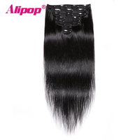 8Pcs/set Clip in Human hair Extensions Brazilian Straight Remy Human Natural Hair Clip Ins Sets 120G Free Drop Shipping