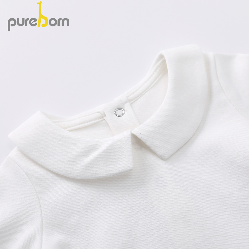 Image 3 - Pureborn Newborn Baby Bodysuit Peter Pan Collar Long Sleeve Jumpsuit Boys Girls Infant Outfits Solid Cotton Bapstim CostumeBodysuits   -