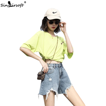 цены High Waist  Ripped Hole Fringe Denim Shorts Women Casual Loose Pocket Jeans Shorts Solid Black Blue Shorts Summer New 2019