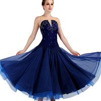 Ballroom Dress Standard Waltz Costume Female Elegant Modern Dance Shiny Blue Long Dress Tango Performance Stage Wear DQL1953
