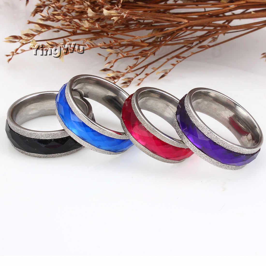 Yingwu 8 millimetri Smalto Viola/Blu/Rosso/Colore Nero Sfaccettato I Branelli di Cristallo In Acciaio Inox Anello di Titanio Per Gli Uomini delle donne