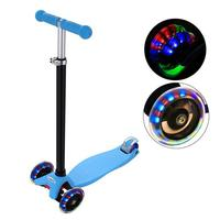 Foldable 3 Wheel Children Scooters Adjustable Height Aluminum Alloy Kick Scooter with City Flash Roller Skateboard for Kids