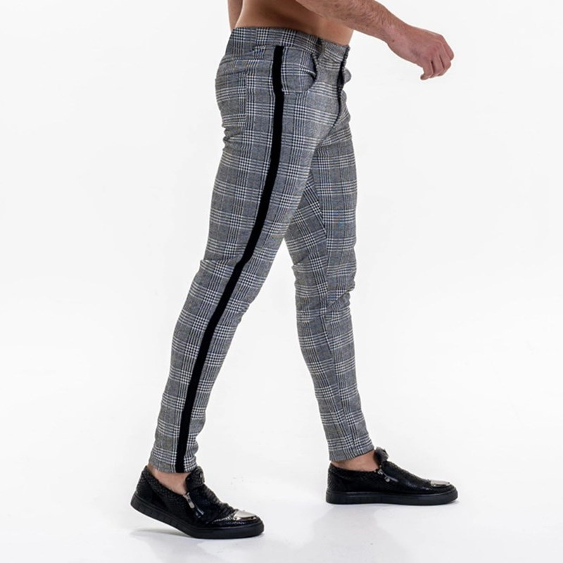 Mens Streetwear Chinos Plaid Casual Pants Fitness Men Skiny Bottom Jogger Pants Sweatpants Fashion Trousers Stripe Track Pants